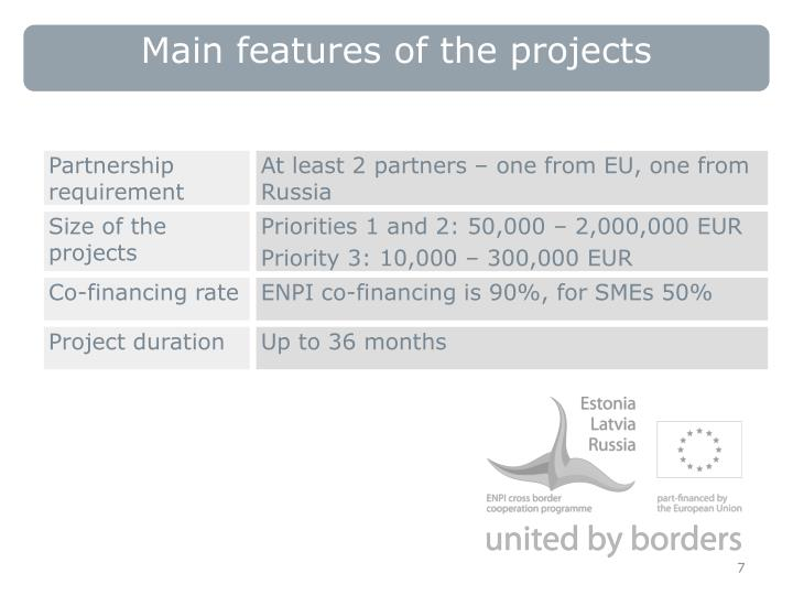 Main features of the projects