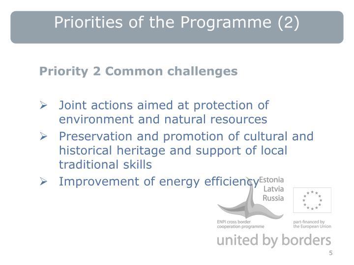 Priorities of the Programme
