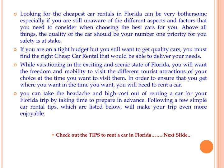 Looking for the cheapest car rentals in