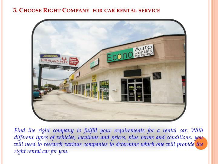 3. Choose Right Company  for car rental service