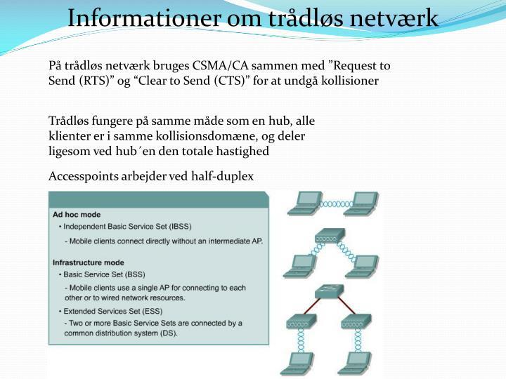 Informationer om trådløs netværk