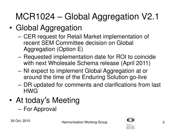 MCR1024 – Global Aggregation V2.1