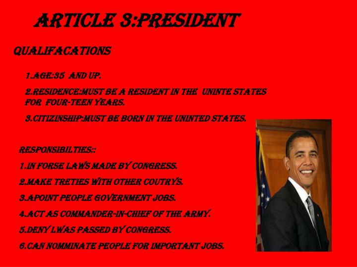ARTICLE 3:PRESIDENT