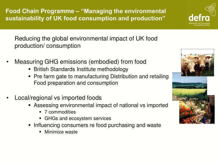 Reducing the global environmental impact of UK food production/ consumption