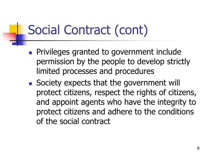 Social Contract (cont)