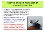 analysis and communication of uncertainty and risk