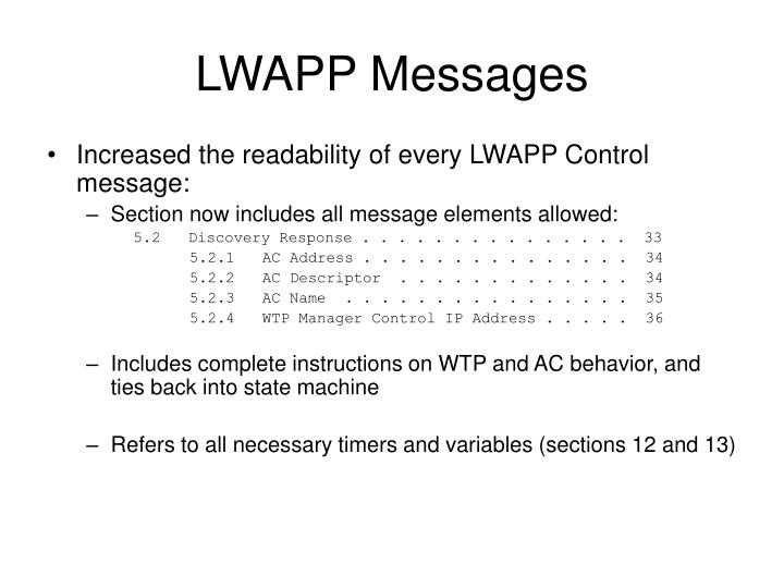 LWAPP Messages