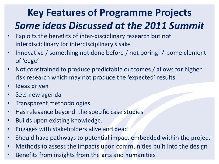 Key Features of Programme Projects