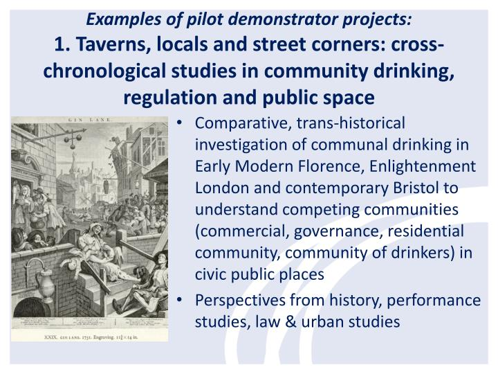 Examples of pilot demonstrator projects: