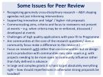 some issues for peer review