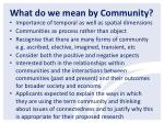 what do we mean by community1