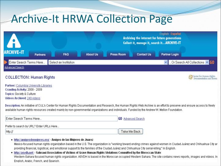 Archive-It HRWA Collection Page
