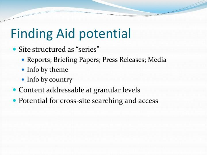 Finding Aid potential