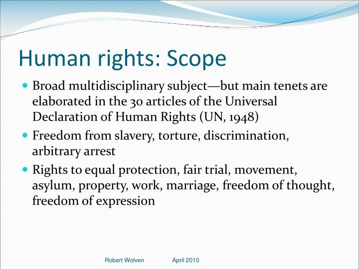 Human rights: Scope