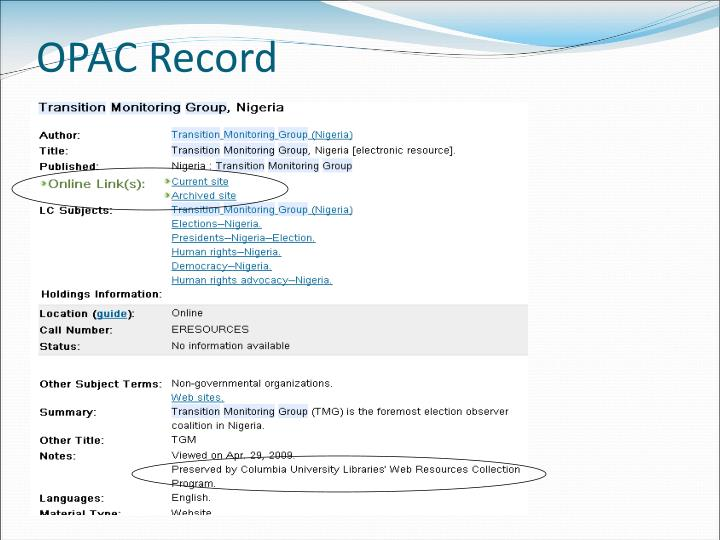 OPAC Record