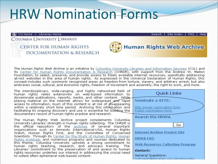 HRW Nomination Forms