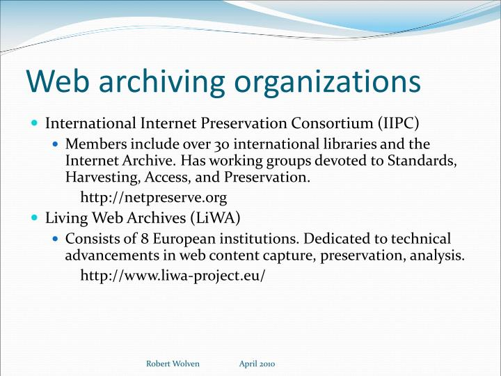 Web archiving organizations