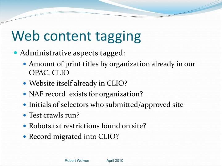 Web content tagging