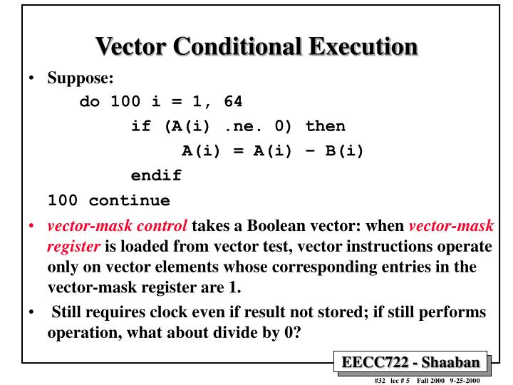 Vector Conditional Execution