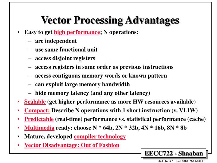 Vector Processing Advantages