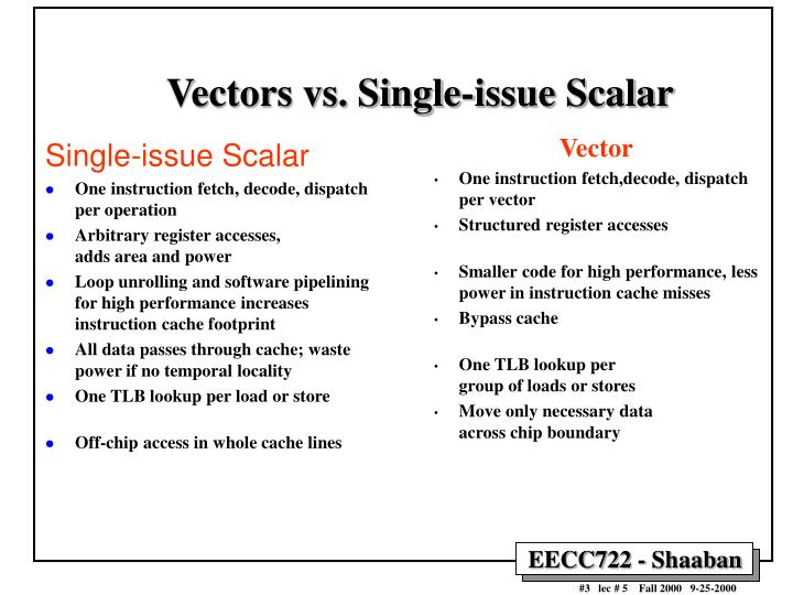 Vectors vs. Single-issue Scalar