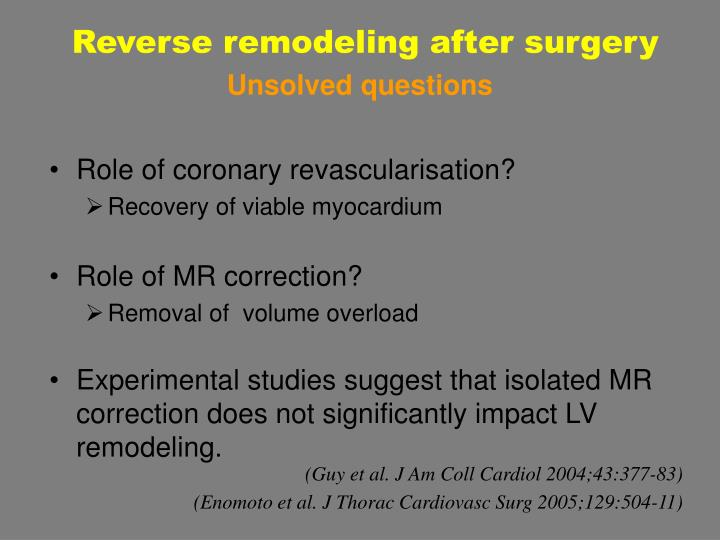 Reverse remodeling after surgery