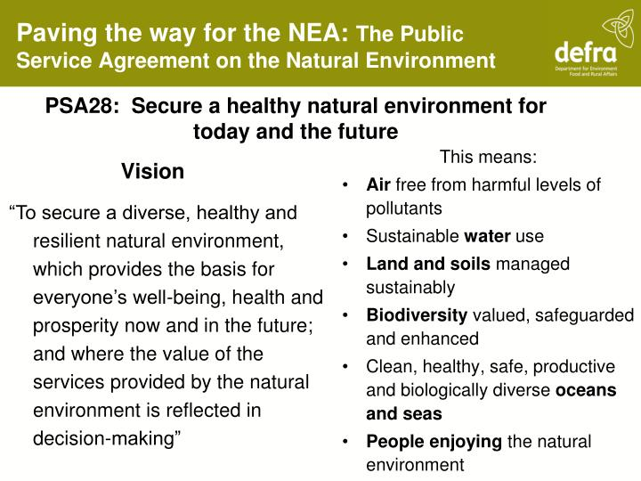 Paving the way for the nea the public service agreement on the natural environment