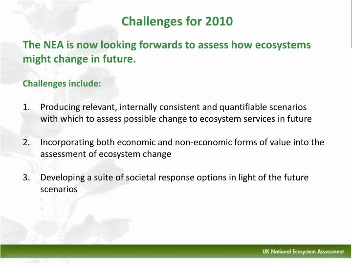 Challenges for 2010