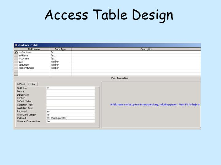 Access Table Design