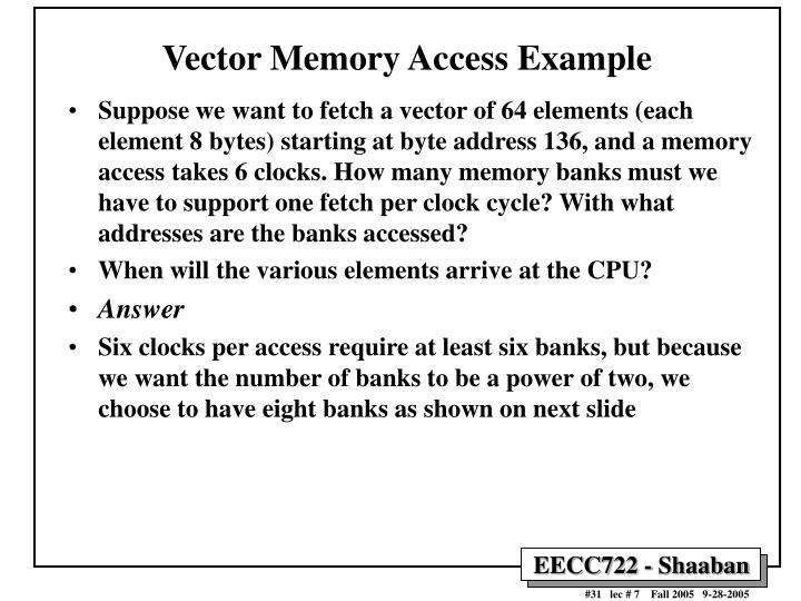 Vector Memory Access Example