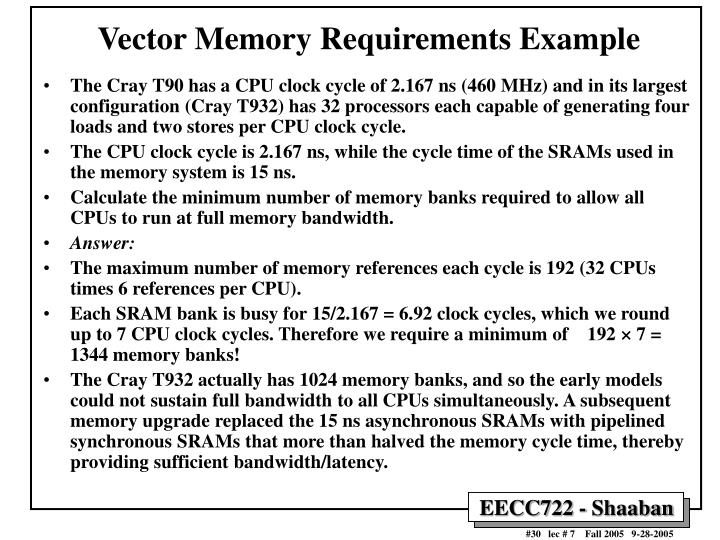Vector Memory Requirements Example