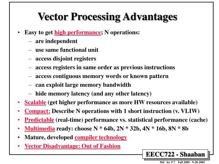 Vector Processing Advantages