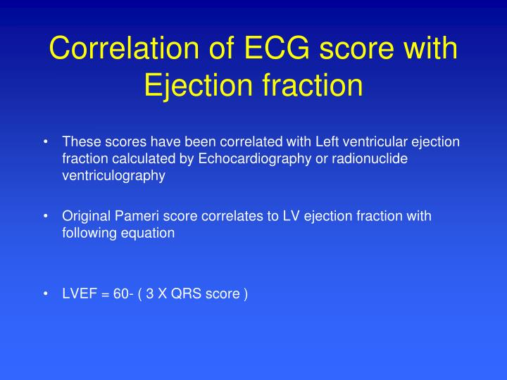 Correlation of ECG score with Ejection fraction