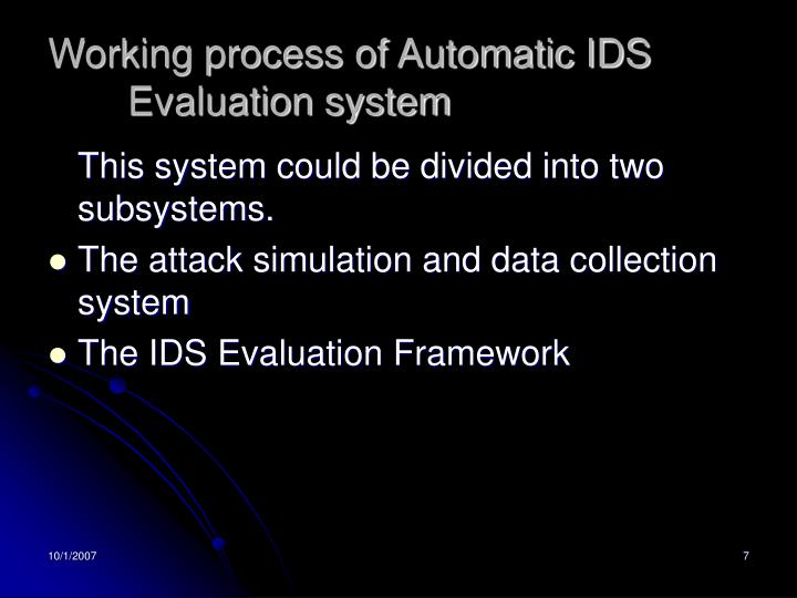 Working process of Automatic IDS Evaluation system