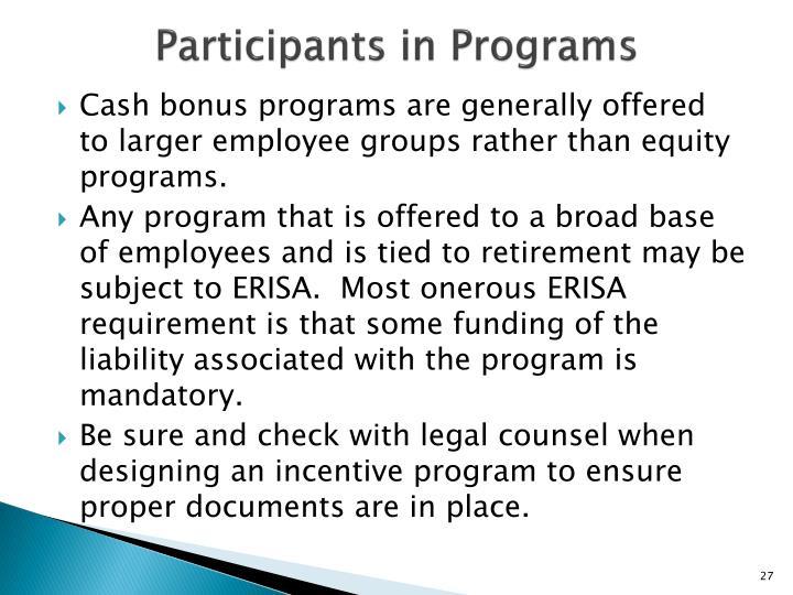 Participants in Programs