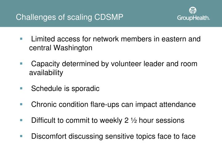 Challenges of scaling CDSMP