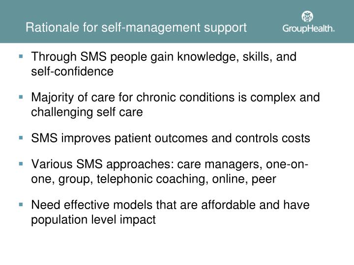 Rationale for self-management support