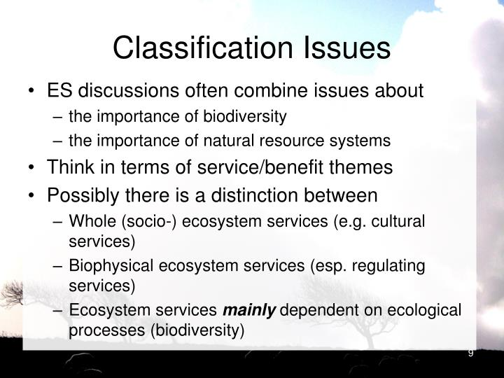 Classification Issues