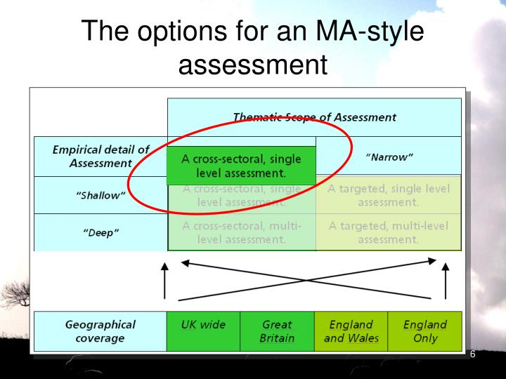 The options for an MA-style assessment