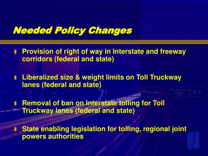 Provision of right of way in Interstate and freeway corridors (federal and state)