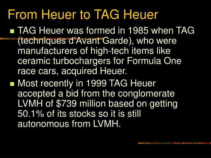 From Heuer to TAG Heuer