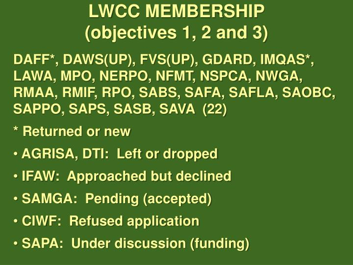 LWCC MEMBERSHIP