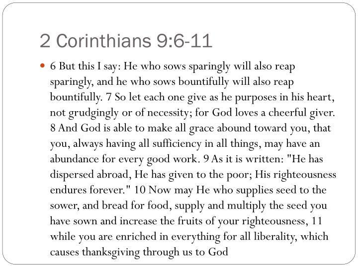 2 Corinthians 9:6-11