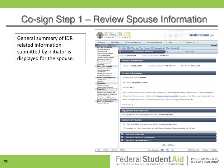Co-sign Step 1 – Review Spouse Information