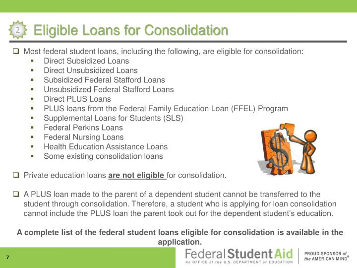 Eligible Loans for Consolidation