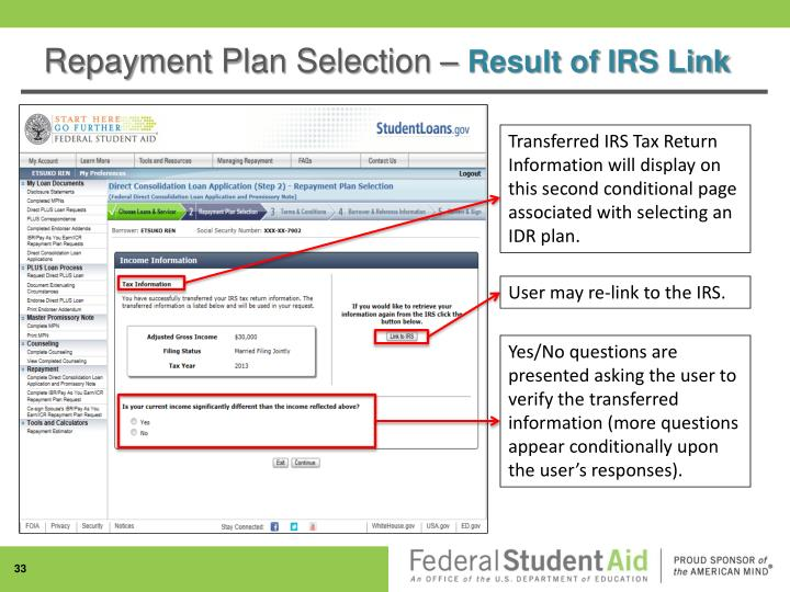 Repayment Plan Selection –