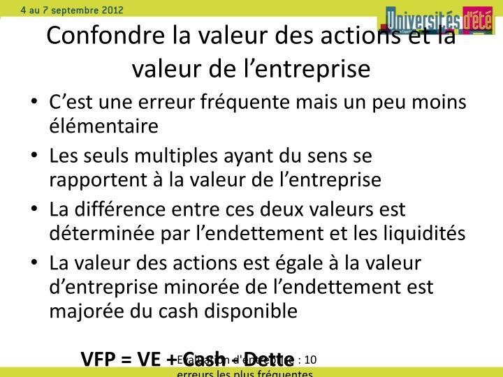Confondre la valeur des actions et la valeur de l'entreprise