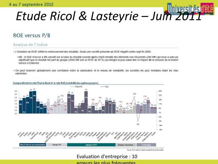 Etude Ricol & Lasteyrie – Juin 2011