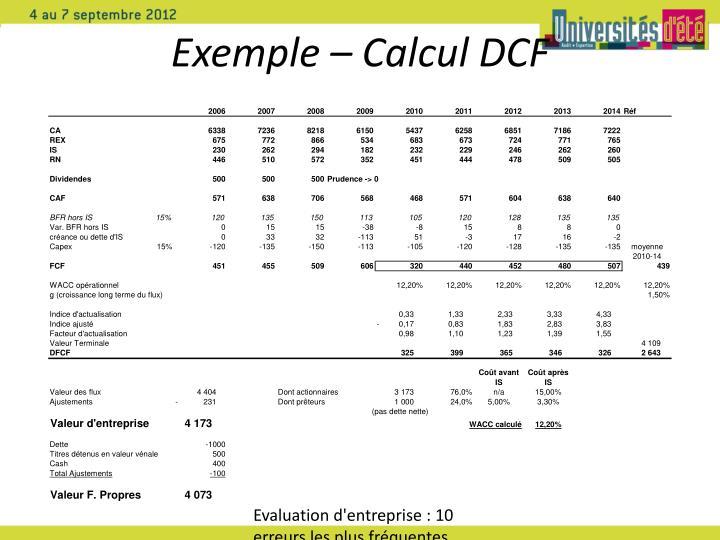 Exemple – Calcul DCF
