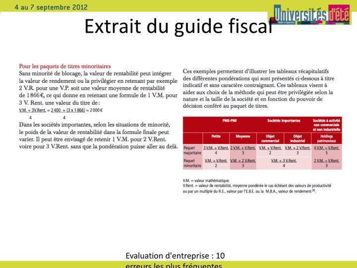 Extrait du guide fiscal